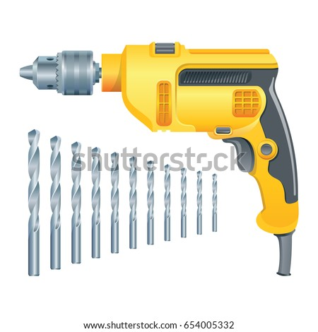Manual electric drill with drills of different lengths