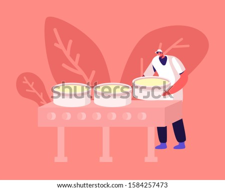 Manufactory Worker Forming Round Shapes of Cheese Put Prepared Mass into Special Circular Forms for Making Blocks on Conveyor Belt. Dairy Production Manufacture Stages. Flat Vector Illustration