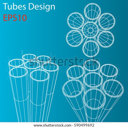 Manufacture and trade of metal pipes. Wire-frame style. Perspective Blueprint. 3D Rendering Vector Illustration. EPS10 format stock photo