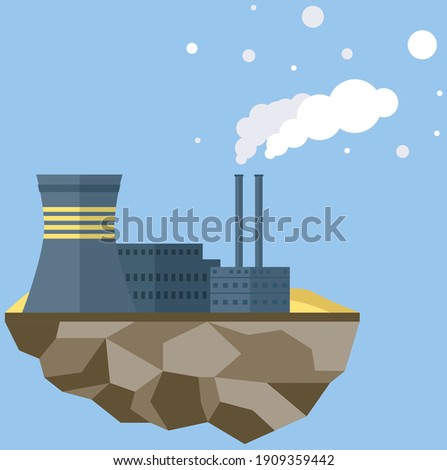 Manufacture pollutes atmosphere. Plant isolated on piece of land. Building destroying environment and emits harmful gases. Energy production factory. Environmental pollution with smog and smoke Stock photo ©