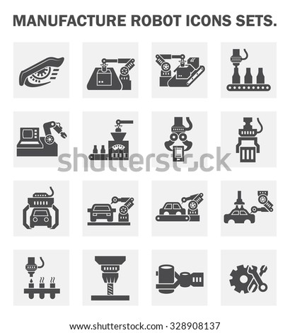 manufacture robot icon sets