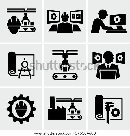 Manufacturing and Engineering Vector Icons