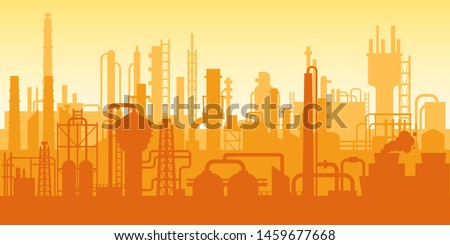 Manufacturing industrial plant, factory silhouette, building of enterprise scene, manufacture industry exterior, industrial industry. Oil refinery with pipe system and silhouettes of buildings vector