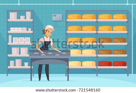 Manufacturing of milk products cartoon composition with cheese forming and ripening, packaging for dairy goods vector illustration