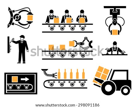 Manufacturing Process Or Production Icons Set Industrial