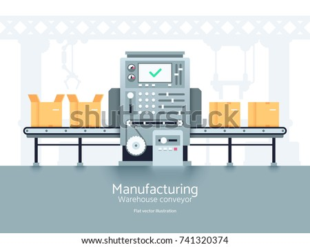 Manufacturing warehouse conveyor. Assembly production line flat vector industrial concept. Conveyor production factory, illustration of manufacturing machine belt line