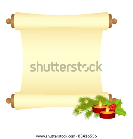 Manuscript with fir branch and candles. Vector illustration, isolated on a white.