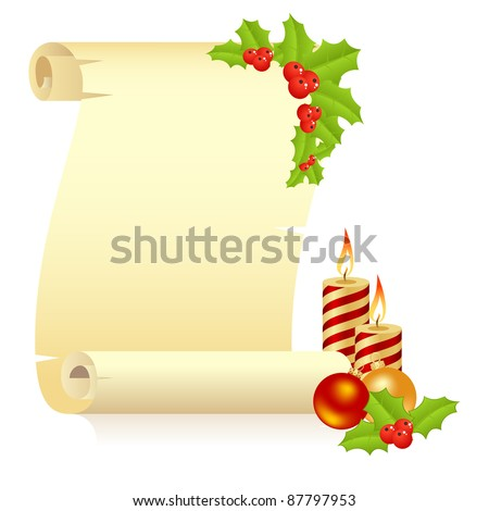 Manuscript with fir branch and christmas balls. Vector illustration, isolated on a white.