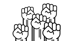 Many a man s fist, vector Isolated line illustration human hands raised up, art concept of resistance, strength, majority, fight, defending rights of society.