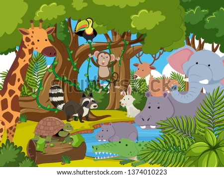 Many animal in the jungle illustration #1374010223