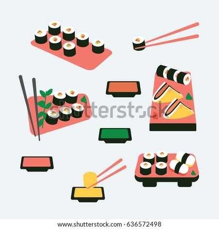 many asian sushi roll vector & seafood flat design style with chopsticks & simple sauce. modern clean cartoon sushi bar icons for restaurant.  Japanese food from Japan isolated