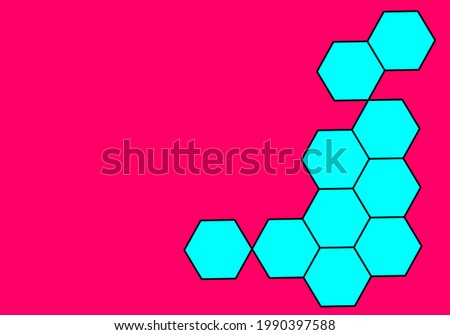 many blue hexagon on red background