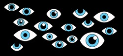 Many cartoon eyes stare out of the darkness. A conceptual illustration of paranoia, surveillance, and the theme of privacy.
