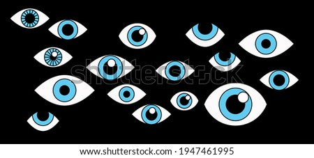 Many cartoon eyes stare out of the darkness. A conceptual illustration of paranoia, surveillance, and the theme of privacy. Foto stock ©