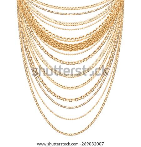 many chains golden metallic