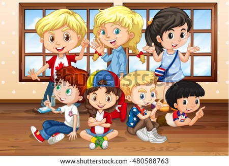 Many children in classroom illustration