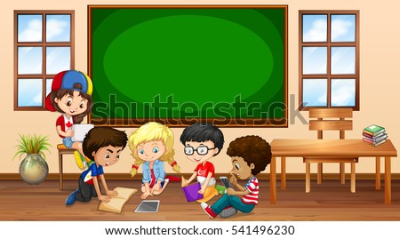 Many children learning in classroom illustration