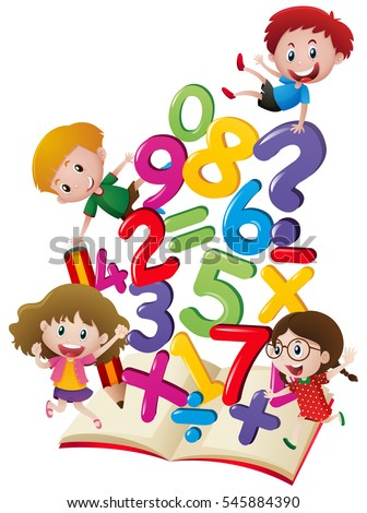 Many children with numbers in the book illustration