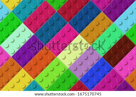 many color toy blocks top view