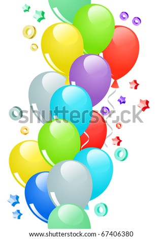 Many-colored ballons and confetti in seamless border