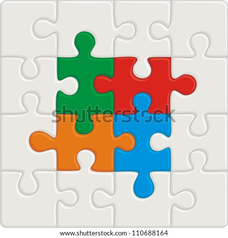 Many-colored puzzle pattern (removable pieces). Vector illustration