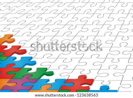 Many-colored puzzle pattern. Vector illustration