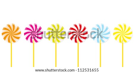Many colorful spiral lollipops