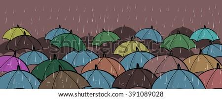 many colorful umbrellas concept
