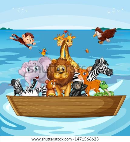 Many cute animals rowing boat illustration
