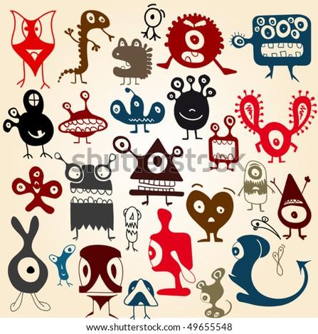 Cute Doodle Monsters Many Cute Doodle Monsters Set