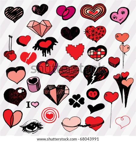 Many Cute Hearts Hand Drawn - stock vector