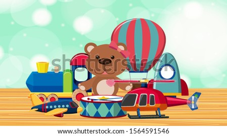 many cute toys on wooden floor