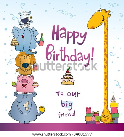 many different animals congratulate a giraffe on a birthday illustration