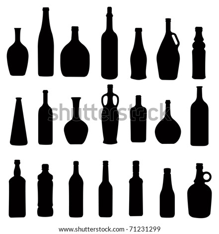 many different bottles, silhouette vector - stock vector