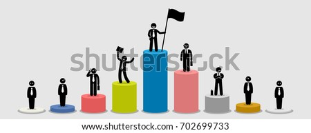 Many different businessman standing on bar charts comparing their financial status. Artwork illustration depicts market leader, big and small players, comparison and wealth in the business world.