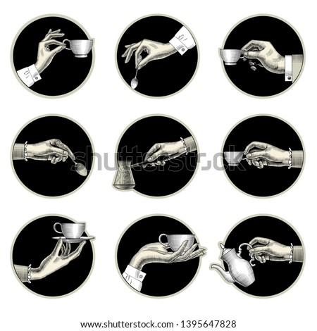 Many different hands held up holding a cup of coffee, coffee spoon, coffee pot, arabic Turk. Coffee concept. Vintage engraving stylized drawing. Vector illustration