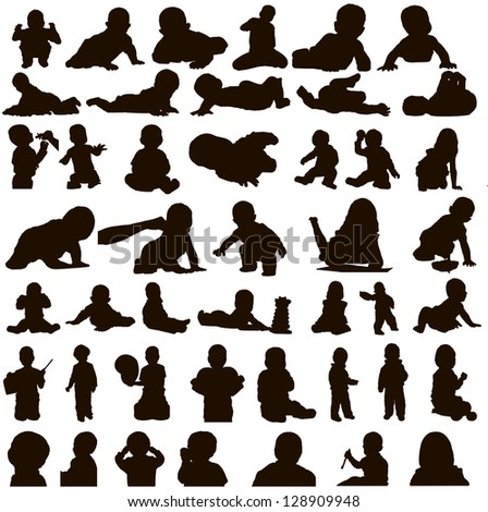 Many different movements of children, vector