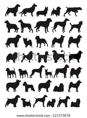 many dog breeds in silhouettes