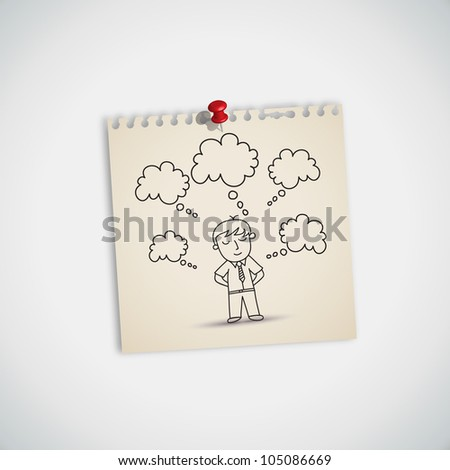 Many Dream Businessman Note Paper Vector