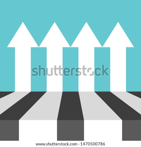 Many equal parallel white arrows on turquouise blue. Perspective view. Equality, independency, competition and teamwork concept. Flat design. EPS 8 vector illustration, no transparency, no gradients