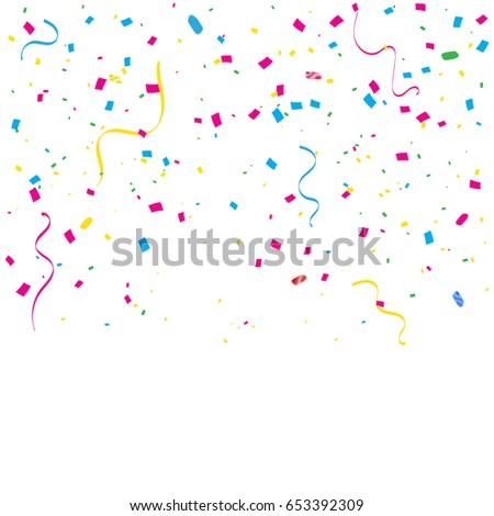 Many Falling Colorful Tiny Confetti And Ribbon Isolated On White Background. Vector