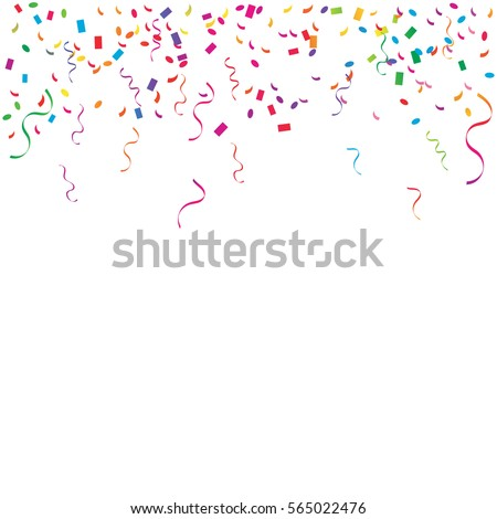 Many Falling Colorful Tiny Confetti And Ribbon Isolated On White Background. Vector. Multi colored