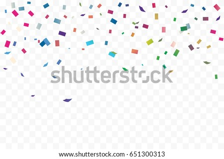 Many Falling Colorful Tiny Confetti On Transparent Background. Explosion. Celebration. Festive. Vector