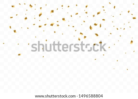 Many Falling Luxury Golden Confetti. Birthday Celebration. Vector Illustration