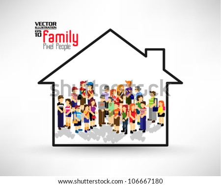 many family members in the house vector icon design