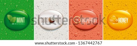 many fresh drops on different color backgrounds with mint, coconut, grapefruit, honey