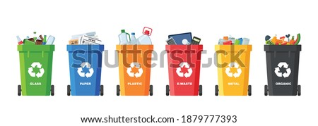 Many garbage cans with sorted garbage. Sorting garbage. Ecology and recycle concept. Trash cans isolated on white background. vector flat illustrations. Сток-фото ©