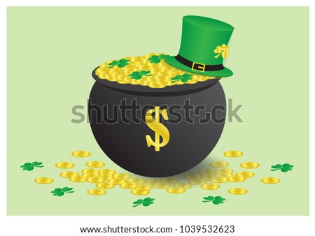 many golden coins in a big pot