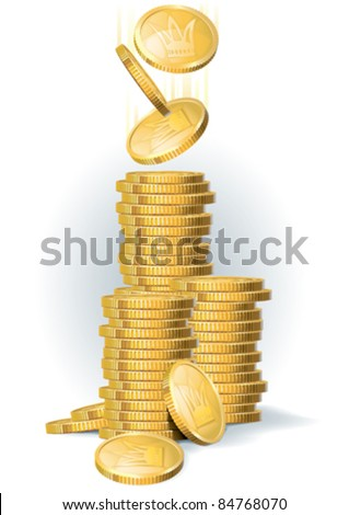 Many golden coins in piles