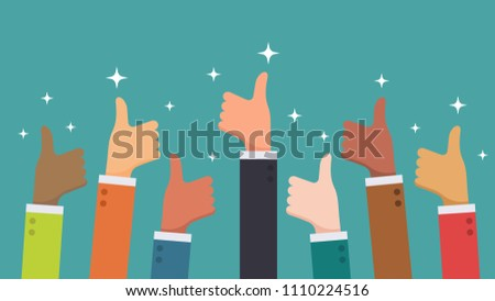 Many hand thumbs up good feedback from ethnic group business people concept vector